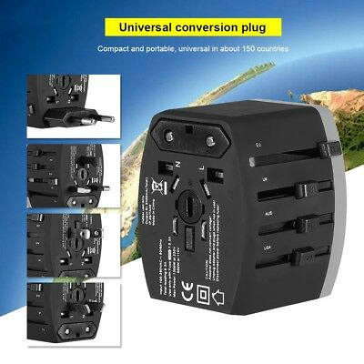 Universal International Travel Adapter 4 USB Power Charger Converter Socket GM