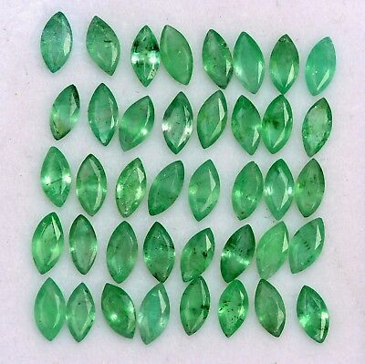 4.55 Cts Natural Emerald Marquise Cut 5x2.50 mm Lot 35 Pcs Untreated Gemstones