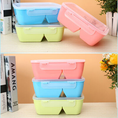 New Plastic Microwave Lunch Box Picnic Bento Food Container Storage Case +Spoon