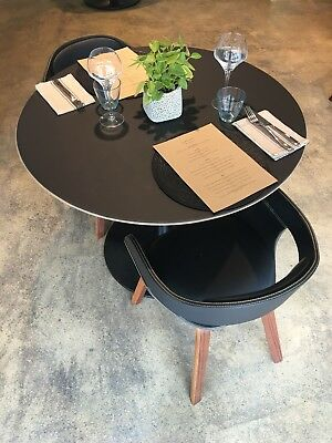 Table for restaurant or cafe, black round with table base