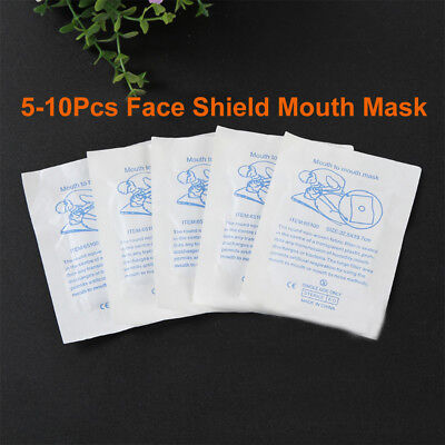5/10 x CPR RESUSCITATION FACE MASK SHIELD Mouth-Mouth Emergency First Aid Refill