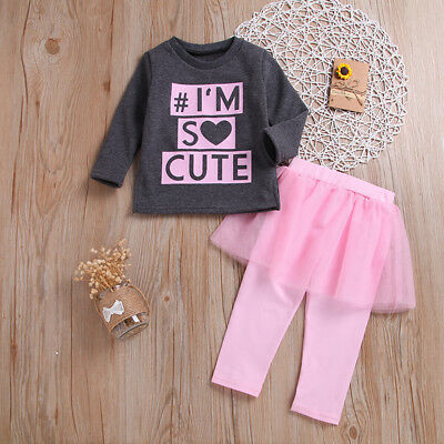 2Pcs/Set Cute Baby Kids Girls Letters Long Sleeve Top Skirt Pants Outfits Nice