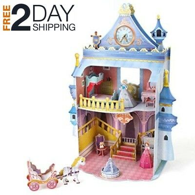 Cardboard Dollhouse For Girls Barbies Kids House With Furniture 3D Puzzle Toys