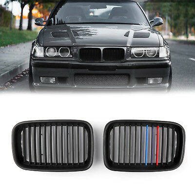 1Pair Matte Black Front Hood Grille Kidney For BMW E36 3 Series M3 1992-1996 B1