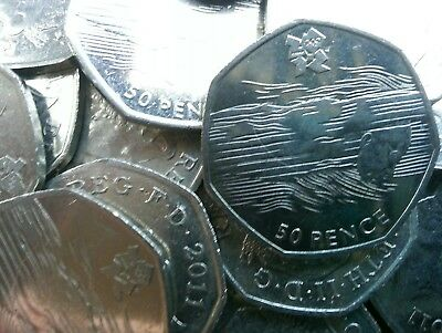 Olympic 50p. London 2012. AQUATICS. Swimming. Swimmer. Fifty pence. Circulated.
