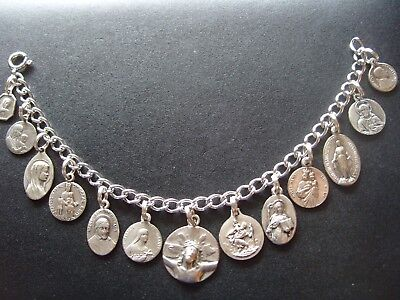 Religious Sterling Charm Bracelet St Therese Christopher Odile Miraculous Medal