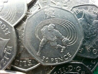 Olympic 50p. London 2012. GOALBALL. Goal Ball. Fifty pence. Circulated.