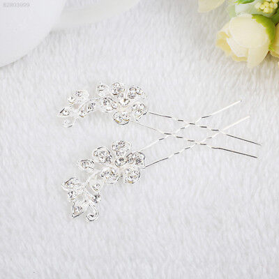 321E 1Pair Elegant Girl Women Handmade Diamante Bud Shape Ladies Long Hair Pins