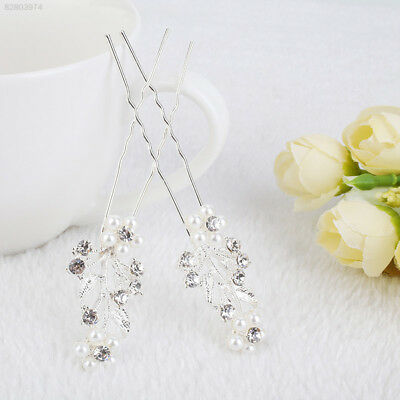 BB1A 1Pair Girl Women Handmade Diamante Pearl Flower Shape Ladies Hair Pins