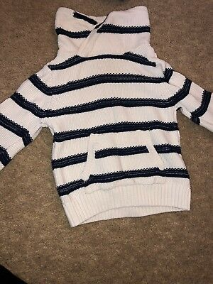 boys white and blue knit jumper top 6-9 months