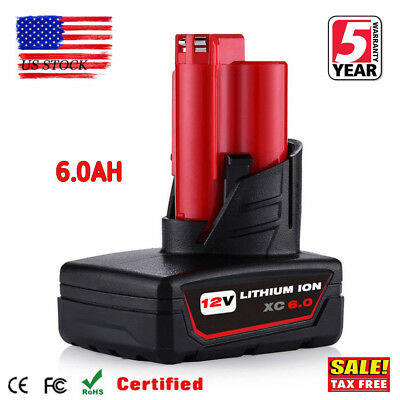 12V For Milwaukee 48-11-2460 M12 LITHIUM ION XC 6.0 Extended Capacity Battery US