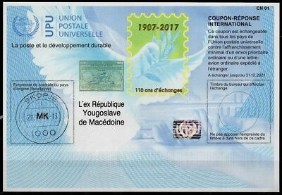 """""""MACÉDOINE"""" Is42  20171120 AA Int. Reply Coupon Reponse Antwortschein IRC IAS oo"""
