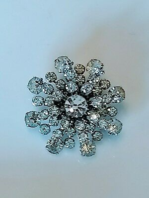 Vintage Prong Set Rhinestone Snowflake Brooch Estate Costume Jewelry