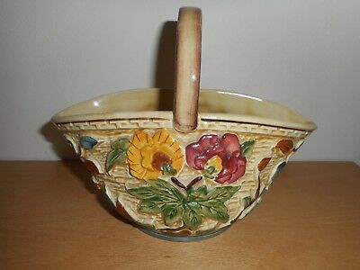 H.J.Wood 581/4 Indian Tree Hand Painted Ceramic Floral Basket.