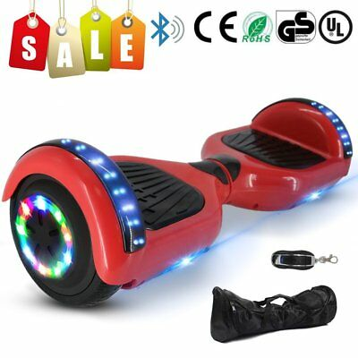"""HOVERBOARD 6.5"""" LUCI LED BLUETOOTH SPEAKER SCOOTER OVERBOARD MONOPATTINO Rosso"""