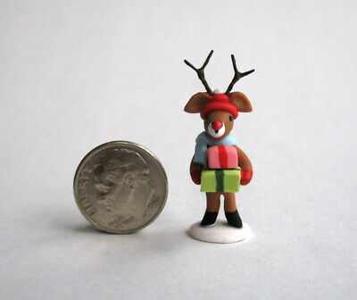 Handmade Miniature CHRISTMAS REINDEER WITH GIFTS - OOAK C. Rohal