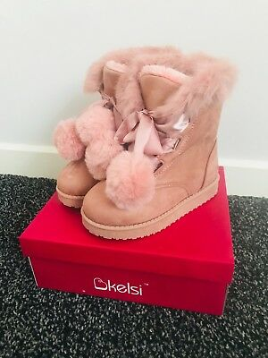 Kids Girls Pink Pom Pom Childrens Furry Lace Up Winter Smart Warm Party Boots