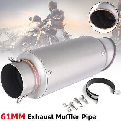 Universal Motorcycle Dirt Bike ATV Exhaust Muffler Pipe 61mm Quad Titanium