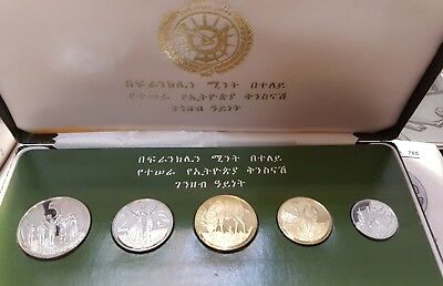 Ethiopia coin set 1977  5 coin Proof set in original box whit certificates