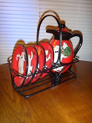 Tracy Flickinger~Pottery Oil Cruet Jug & 4 Plates With Metal Stand~Red/black~New