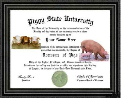 Pig Lover/'s Doctorate Diploma Degree Custom made /& Designed for You OINK OINK
