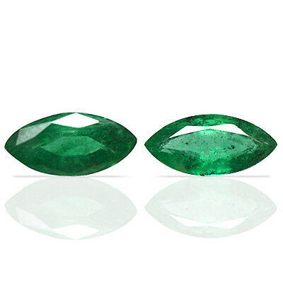 1.60 Cts Natural Top Green Emerald Unheated Marquise Cut Pair Zambia 2 Pcs Best