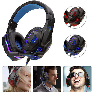 Gaming Kopfhörer Headset mit Mikrofon LED Surround Sound Stereo Bass Spiel