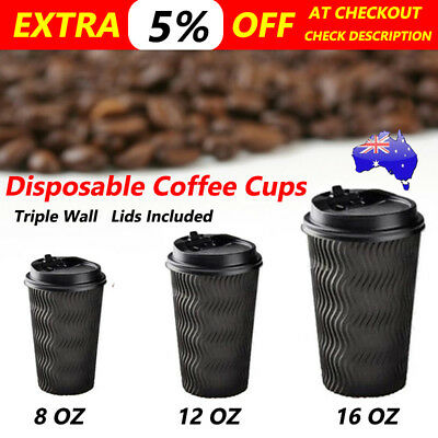 Disposable Coffee Cups Bulk Triple Wall 8Oz 12Oz 16Oz W/Lids Takeaway Black Cups