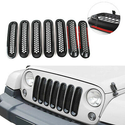 7Pcs Clip-in Front Insert Mesh Grille Cover For 2015+ Jeep Wrangler JK Unlimited