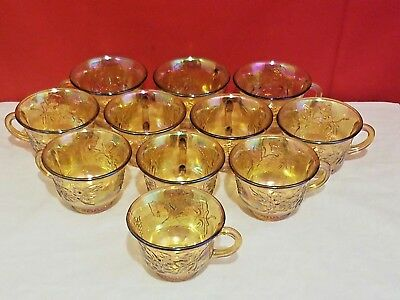 Antique Marigold Carnival Glass Punch Bowl Cups Lot Of 11