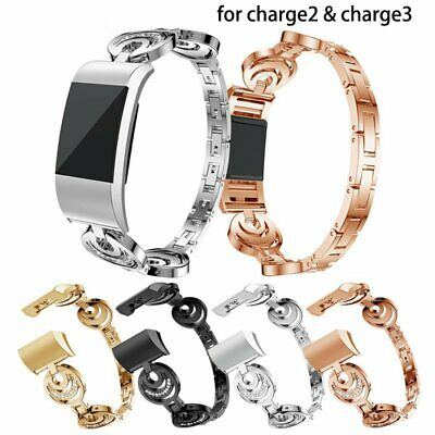 Luxury Stainles Steel Wrist Watch band Strap Bracelet Clasp For Fitbit Charge2 3