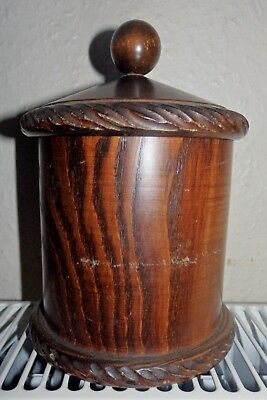 VINTAGE WOODEN LIDDED POT 17 cm TALL (W3)