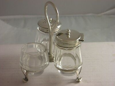 Lovely 1905 Edwardian Silver Small Cruet Stand 154 grams including glass Bushell