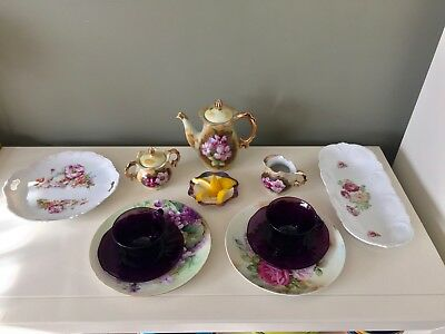 SERVICE FOR 2 TEA LUNCH PARTY 12 PC Mismatched China Glass Set Cups Teapot ROSE