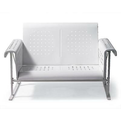 Vintage Collection Outdoor Patio Metal Glider Loveseat 2 Person Settee White