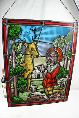 Old Flemish Stained glass window Religious cross deer dog
