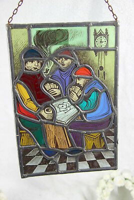 Old Flemish Stained glass window men playing cards
