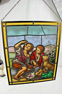 Old Flemish Stained glass picknick field dog fruits