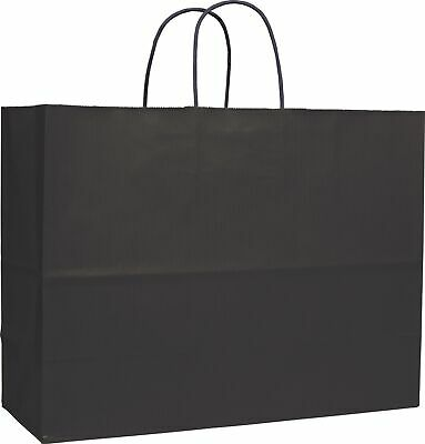 250 Black Varnish Stripe Kraft Paper Bags Shoppers 16 x 6 x 12 1/2""