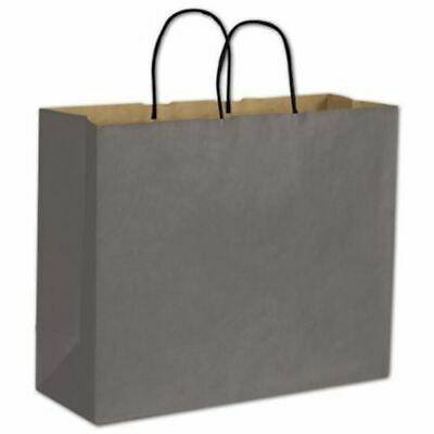 250 Storm Gray Color on Kraft Shoppers Paper Bags Gift Merchandise 16 x 6 x 12 1