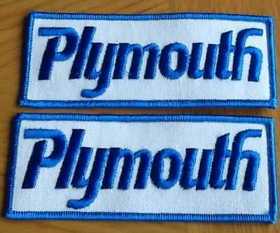PLYMOUTH PATCH 1970s VINTAGE SET OF TWO (2) ORIGINAL NOS