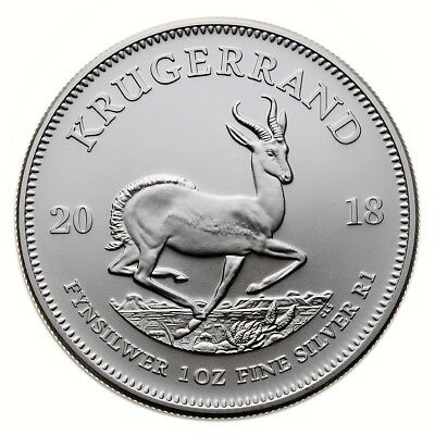 "2018 - South Africa ""Krugerrand"" 1 oz (.999) Silver Coin"