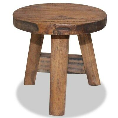 Small Rustic Side Table Solid Wood Furniture Industrial Style Stool Round End