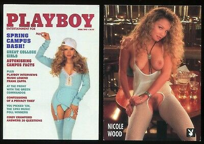 2 PLAYBOY 1995 RETRO CARDS #118 & #119 Miss April 1993 NICOLE WOOD