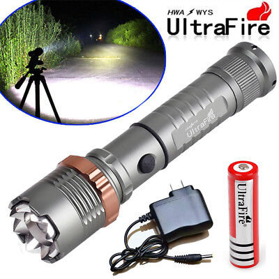 Tactical LED Flashlight 90000LM Rechargeable 5Modes T6 Torch +18650 Batt+Charger