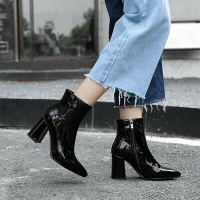 Women Shiny Pu Leather Pointy Toe Block Heel Ankle Boots Europe Street Booties