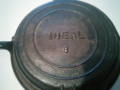 IDEAL No.8 - ANTIQUE CAST IRON WAFFLE MAKER  - ORIGINAL BALE HANDLES HEAT RING.
