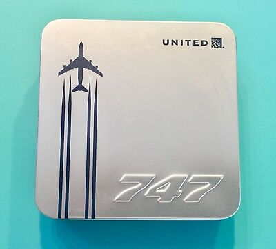 United Airlines 747 Farewell Transcontinental Amenity Kit— Silver Color