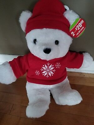 2018 Kmart Holiday Christmas Bear  White Bear Red PLEASE READ