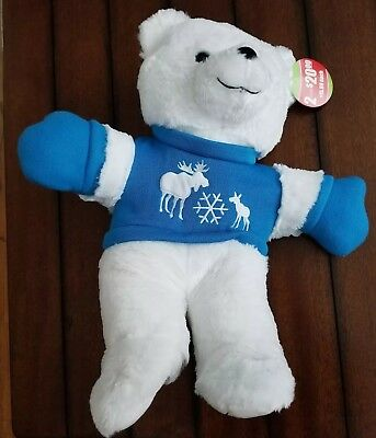2018 Kmart Holiday Christmas Bear  White Bear Blue with mittens PLEASE READ